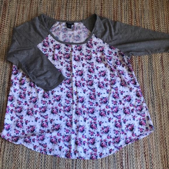 Floral Blouse with Grey Cotton 3/4 Raglan Sleeves.